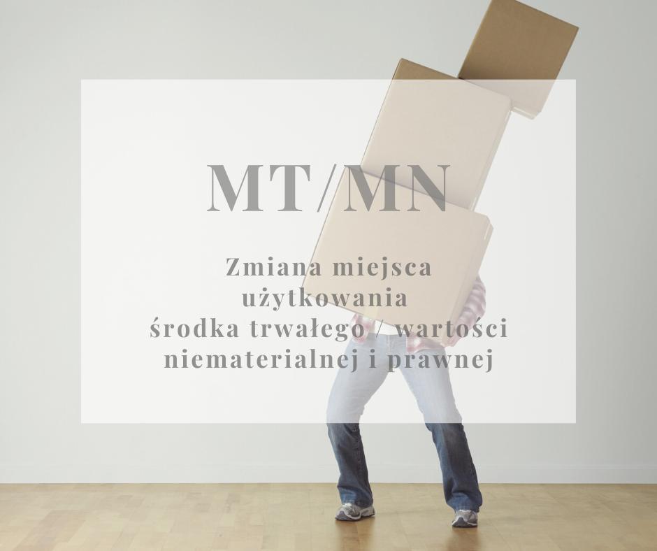 Dowody księgowe – MT / MN zmiana miejsca użytkowania środka trwałego / wartości niematerialnej iprawnej